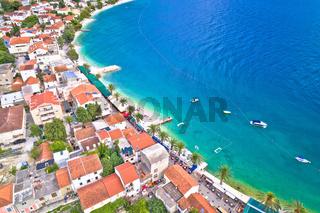 Makarska riviera turquoise beach aerial view