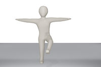 Character balancing on one leg, 3D illustration