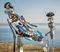 Metal sculpture on the Langeron Beach in Odessa, Ukraine