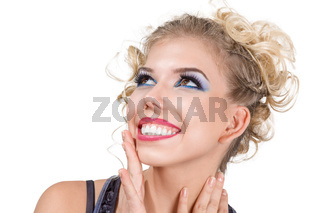 Happy emotional young woman face isolated on white background