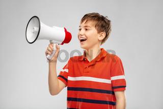 boy speaking to megaphone