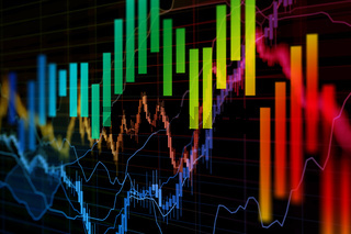 stock market charts, trading concept