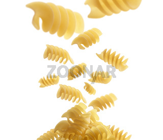 Italian pasta levitating on a white background