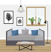 Interior of a living room studio with potted plants, modern apartment design. Vector illustration
