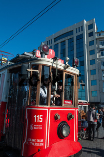 Traditional Tram, Taksim square at the beginning of Istiklal street, Istanbul, Turkey