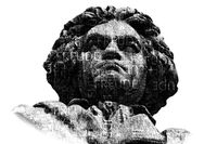 statue of ludwig van beethoven against white background