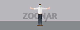 Man With Mask And Copy Space Vector