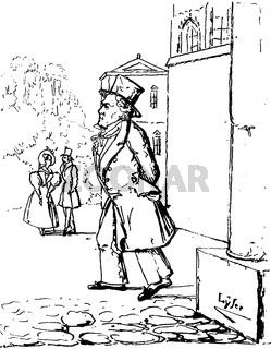 Caricature by J. P. Lyser, Beethoven in Vienna, Ludwig van Beethoven, 1770 -1827, German composer