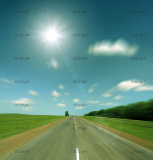 high speed road to sun - vintage retro style