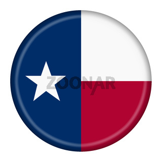 Texas flag button 3d illustration with clipping path