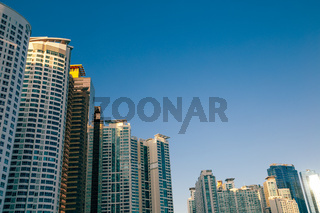 Haeundae marine city modern apartment buildings in Busan, Korea