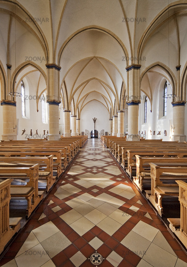Interior view of the catholic parish church Sankt Petrus, Waltrop, Ruhr area, Germany, Europe