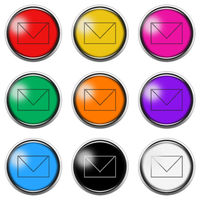 Envelope Email button icon set isolated on white with clipping path 3d illustration