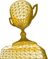 First place golden award cup with polygonal grid on white background. Vector