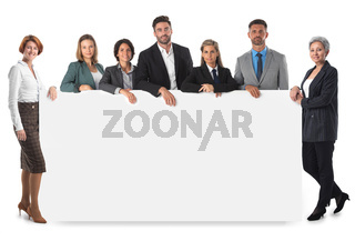 Business group with blank banner