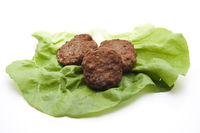 Rissoles with salad sheet