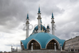 Beautiful white mosque with a blue roof against the sky with clouds. Mosque a in Kazan