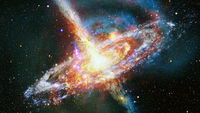 Space landscape with nebula and pulsar. Elements of this image furnished by NASA