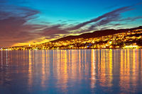 Town of Crikvenica waterfront evening sunset view