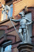 Knight statue on a residential building