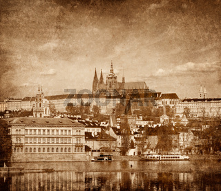 View of Charles bridge over Vltava river and Gradchany