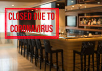 Modern bar with stools closed due to government order on coronavirus