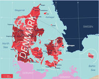 Denmark country detailed editable map