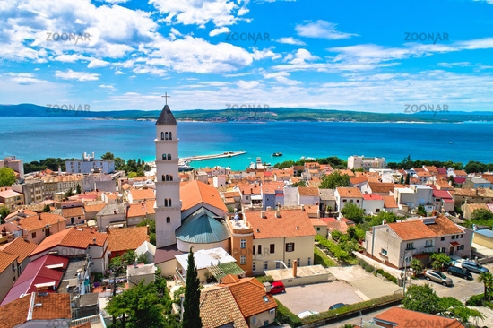 Crikvenica. Town on Adriatic sea waterfront aerial view