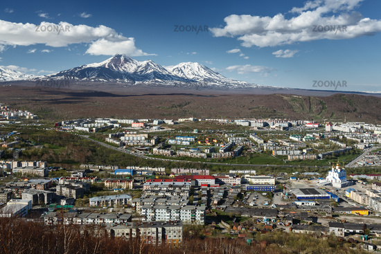 View of city Petropavlovsk-Kamchatsky and volcanoes. Kamchatka Peninsula, Russian Far East