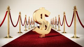Dollar sign standing on red carpet with velvet ropes on both sides. 3D illustration