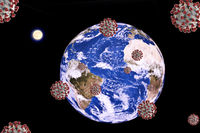 Attack on earth with corona viruses, photomantage, symbol image for the global corona pandemic
