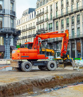 Street renovation, excavators, Brussels downtown
