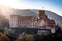 Heidelberg castle at sunset, sunrise, germany