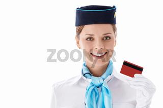 Stewardess with a credit card