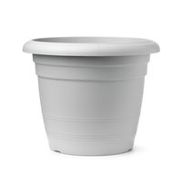 Front view of gray plastic flower pot