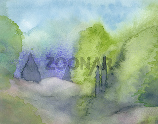 Watercolor landscape with junipers.