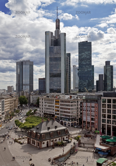 View over the city center to the financial district with the skyline, Frankfurt, Germany, Europe