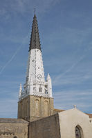 Church of Ars with black and white bell tower in the Ile de Re in Charente France
