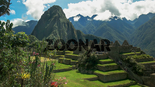 huayna picchu and the central plaza at peru's lost incan city of machu picchu