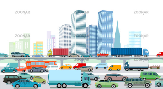Highway with a big city illustration