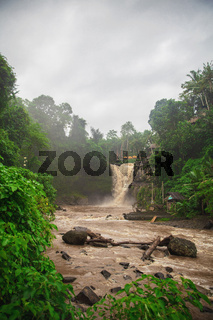 View of muddy waters of a Tegenungan waterfall
