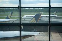 Singapur, Republik Singapur, Passagierflugzeuge der Singapore Airlines auf dem internationalen Flughafen Changi