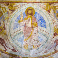 Medieval mural of Christ pantocrator, sitting on the rainbow. Symbols of the four evangelist, Lackal