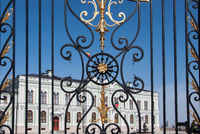 The patterns on the gate in front of the President's Palace