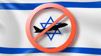 Prohibition sign with crossed out plane on the background of Israeli flag.