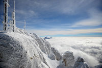 Frost covered antennas on top of the Alps