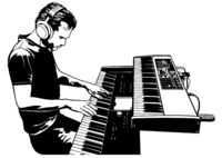 Musician Playing on the Keyboard Synthesizer