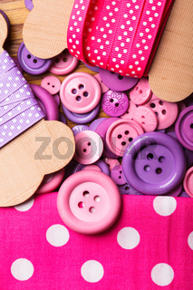 Polka dot ribbons and buttons