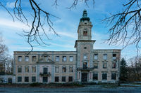 Wandlitz, Brandenburg, Gemany - february 16, 2019: The ruins of historical castle Dammsmuehle near W
