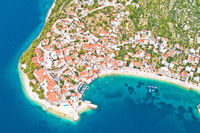 Igrane village on Makarska riviera aerial view